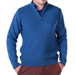 Sweter z krótkim zamkiem Lasota Filip polo jeansowy M L XL 2XL 3XL