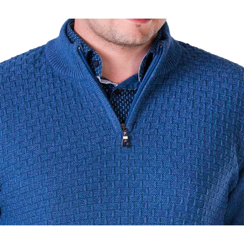 Sweter z kr. zamkiem Lasota Filip polo jeansowy