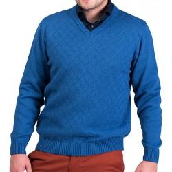 Sweter męski Lasota Szymon w serek - jeansowy