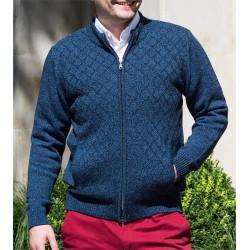 Męski sweter Lasota Szymon rozpinany kolor jeans-granat melanż
