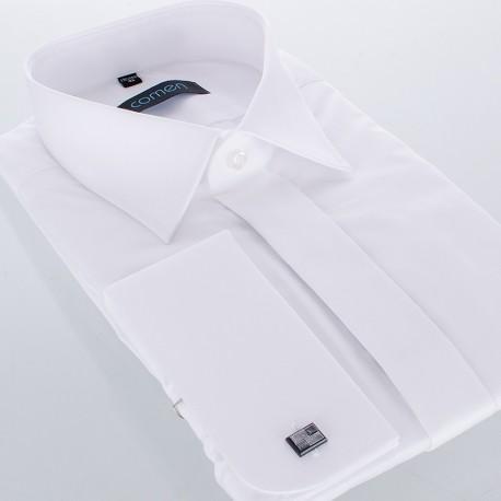 Wizytowa biała koszula Comen z długim rękawem na spinki - regular