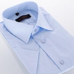 Taliowana koszula Comen z krótkim rękawem niebieska 40 41 42 43 44 45