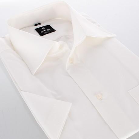 Koszula z krótkim rękawem Comen - slim beżowa ecru