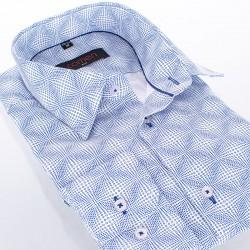 Biało-niebieska koszula Comen dł. rękaw slim 39 40 41 42 43 44 45 46