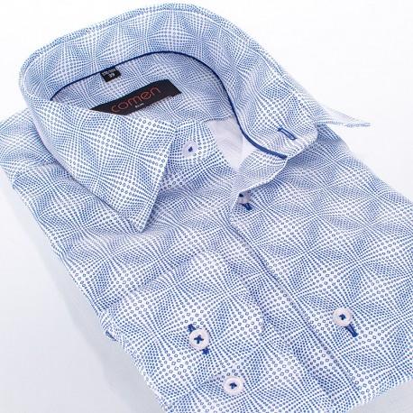 Biało-niebieska koszula ze wzorem Comen dł. rękaw - slim