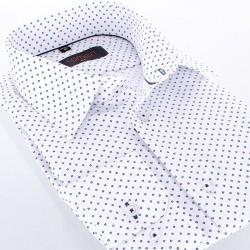 Biała koszula ze wzorem Comen z długim rękawem - slim