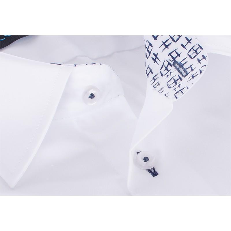 Biała koszula Comen z długim rękawem - slim - czarne wykończenie