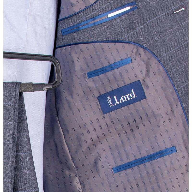 Szary garnitur w kratkę Lord T-22 wełniany