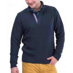 Sweter Lasota Romeo z krótkim zamkiem - granatowy