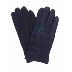 Granatowe rękawiczki męskie w szeroką kratkę