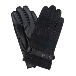 Czarne rękawiczki męskie w szeroką kratkę z regulacją przy nadgarstku