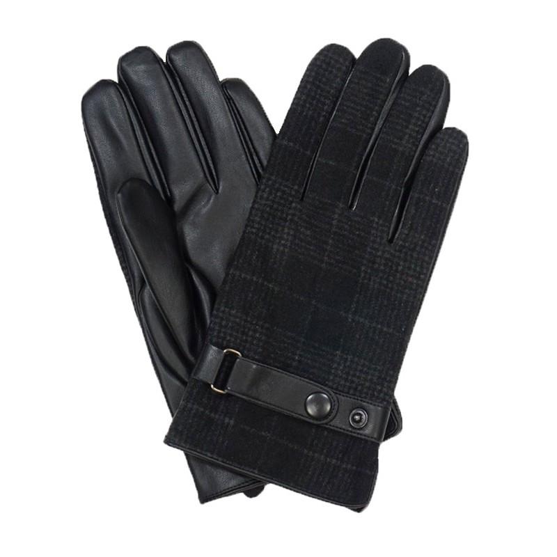 Czarne rękawiczki męskie w szeroką kratkę z regulacją