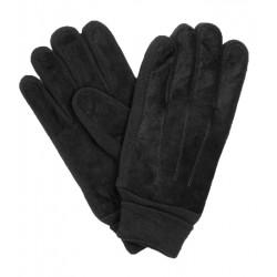 Czarne rękawiczki męskie z irchy ze ściągaczem - skóra naturalna