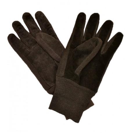 Brązowe rękawiczki męskie z irchy ze ściągaczem - skóra naturalna