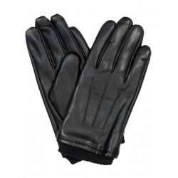 Czarne rękawice męskie ze skóry ekologicznej lekko zdobione