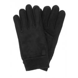 Czarne polarowe rękawiczki męskie - wierzch pluszowy
