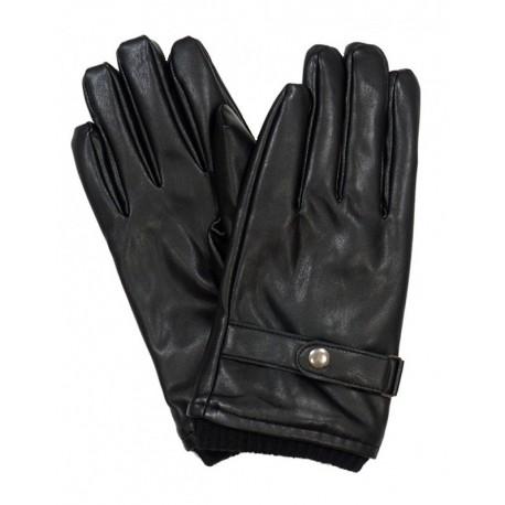 Czarne rękawice męskie ze skóry ekologicznej z ozdobnym napem