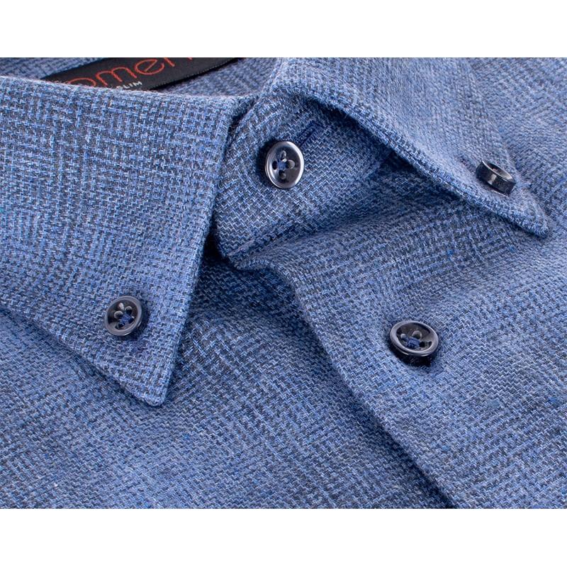 Niebieska koszula flanelowa Comen w kratę slim