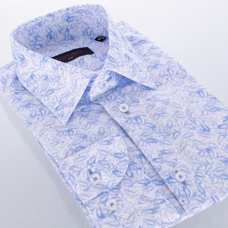 Koszula Comen slim długi rękaw biało-niebieska ze wzorem paisley
