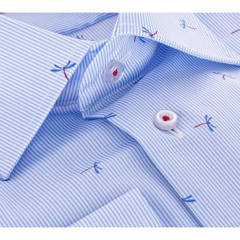 Niebieska koszula regular Comen w prążki i ważki