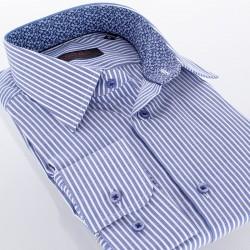 Niebieska koszula Comen dł. rękaw slim w paski 39 40 41 42 43 44 45 46