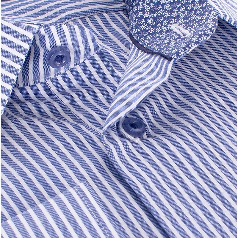 Niebieska koszula Comen długi rękaw slim w podłużne paski