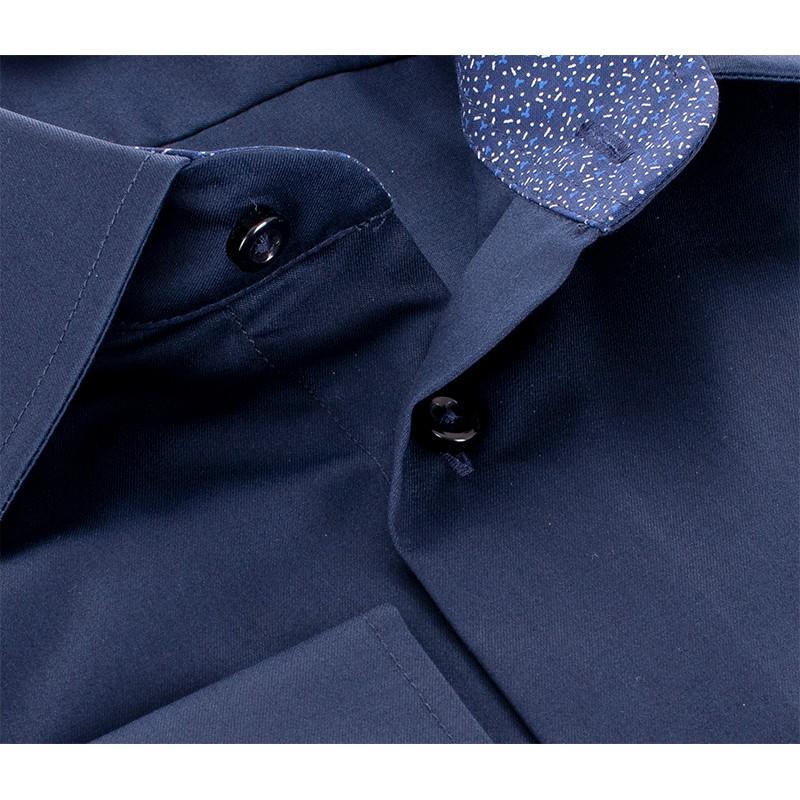 Granatowa gładka koszula Comen - długi rękaw slim