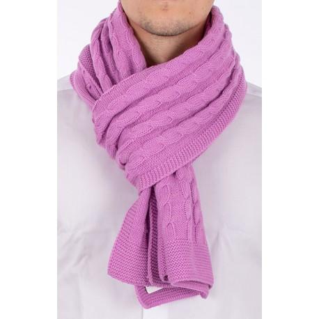 Jasno fioletowy szalik wełniany Kings 89S*0001 o splocie warkoczowym