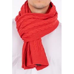Czerwony szalik wełniany Kings 89S*0001 o splocie warkoczowym