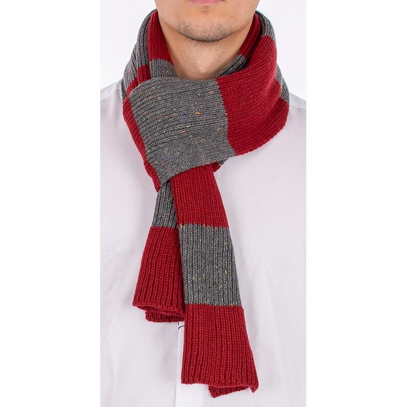 Ciemnoszaro-czerwony ciepły szalik męski Adriano Guinari w paski