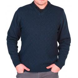 Granatowy sweter Lasota Szymon serek, bawełna w szpic M L XL 2XL 3XL
