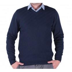Granatowy sweter w szpic Lasota Markus M L XL 2XL 3XL