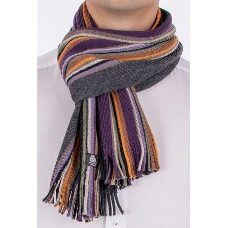 Kolorowy wełniany szalik Kings 84G*8083 kolor 250 w paski z frędzlami