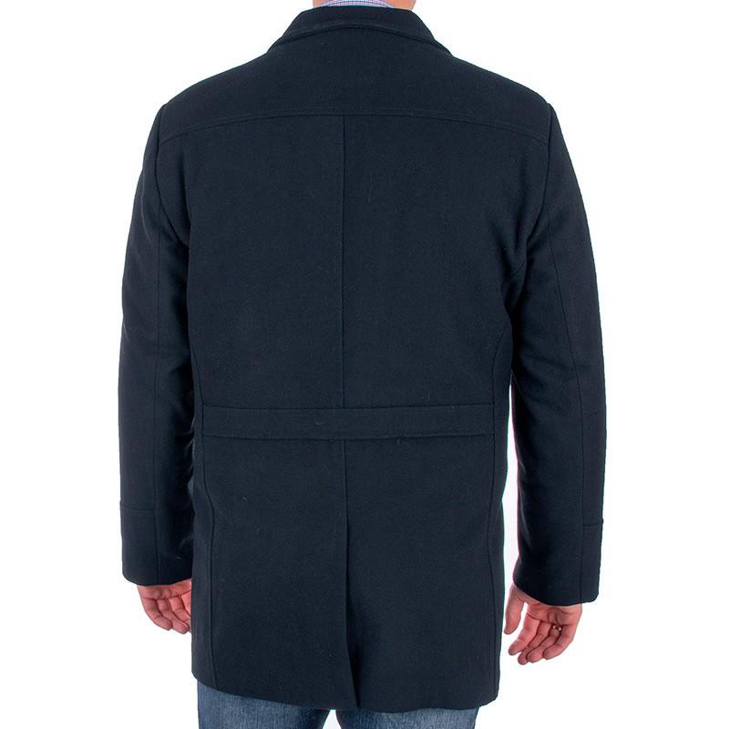 Granatowy wełniany płaszcz Racmen 3040 Robert
