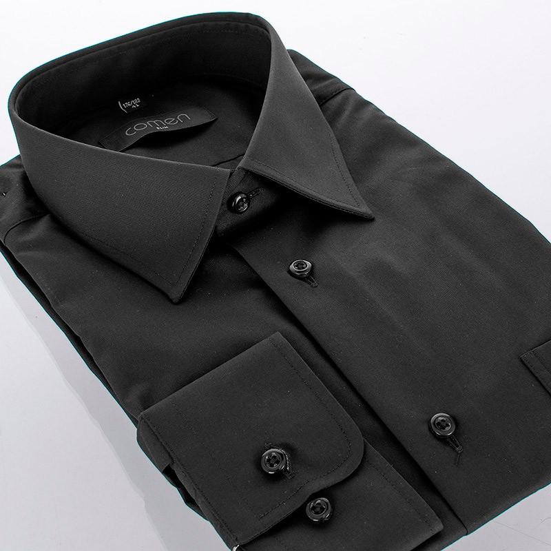 Czarna koszula Comen z dł.rękawem - slim
