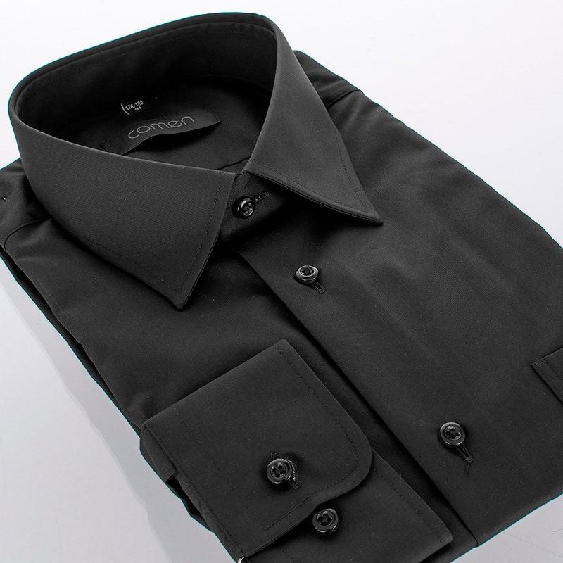 Czarna koszula Comen z długim rękawem - regular