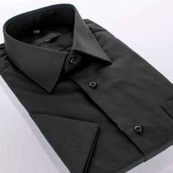 Koszula Comen z krótkim rękawem - czarna slim