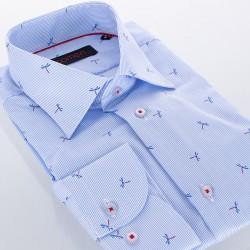 Niebieska koszula slim Comen w prążki i ważki