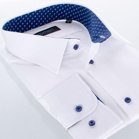 Biała gładka bawełniana koszula Comen slim