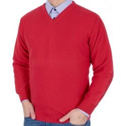 Czerwony sweter w szpic Kings 100*112706 v-neck roz. M L XL 2XL 3XL