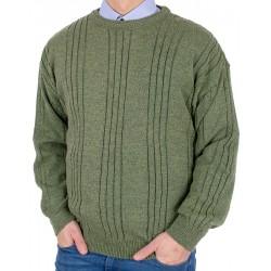 Zielony sweter U-neck Kings 11G 2760 oliwkowy 304 roz. M L XL 2XL 3XL