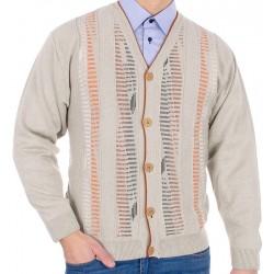 Beżowy sweter rozpinany na guziki Kings 63202 kolor 300 M L XL 2XL 3XL