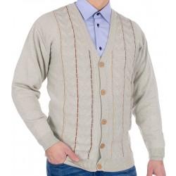 Beżowy sweter męski na guziki Kings 64502 bawełniany M L XL 2XL 3XL