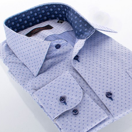 Jeansowa koszula Comen regular drobny wzorek