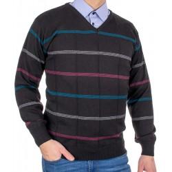 Czarny sweter w szpic Kings Elkjaer 11C 598706 w paski M L XL 2XL 3XL