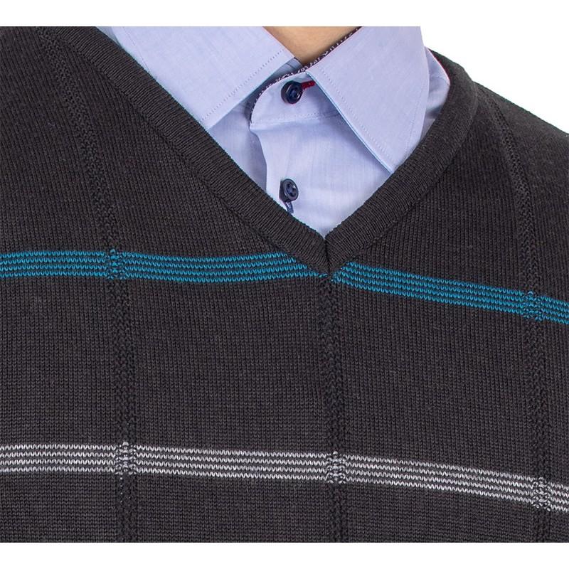 Czarny sweter w szpic Kings Elkjaer 11C 598706 w paski