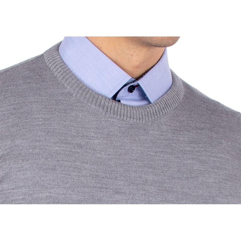 Sweter wełniany u-neck Kings Max Sheldon 10442 kolor 4226 popielaty