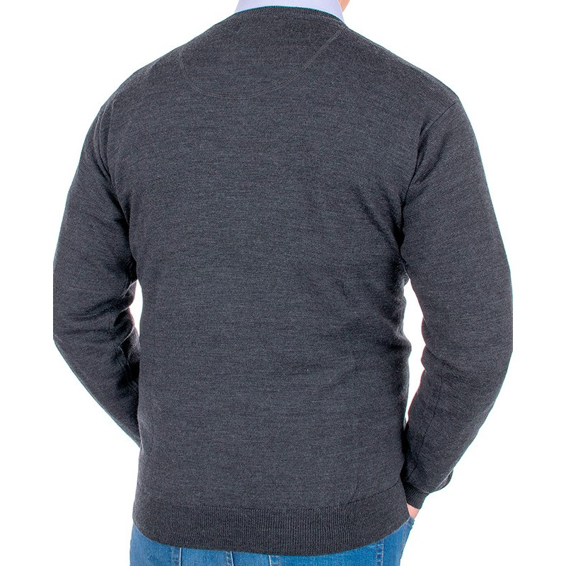 Grafitowy sweter wełniany Kings Max Sheldon 10442 kolor 1255