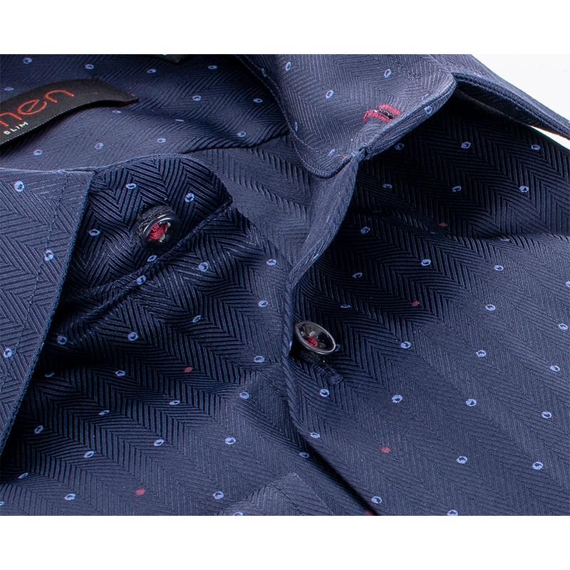 Granatowa koszula ze wzorem Comen dł. rękaw slim