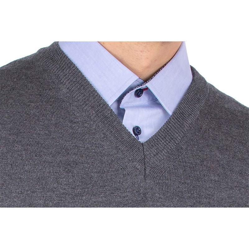 Sweter w serek Kings 100*S-402 4006 anthrazit melange 305 - bawełna